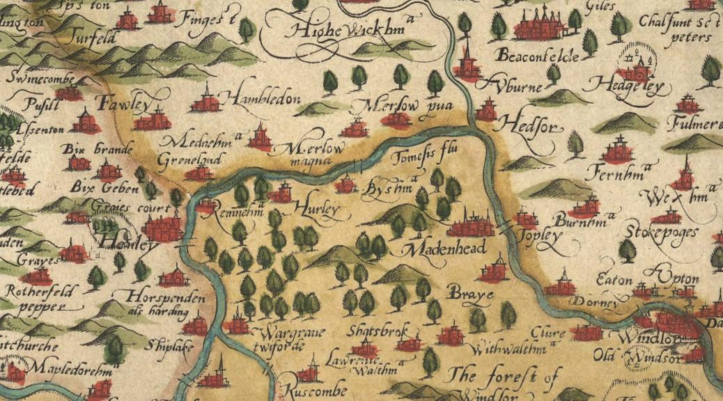 John Leighfield Saxton 1579 Oxonia Buckinghamia et Berceria - 1574 for Marlow publicity